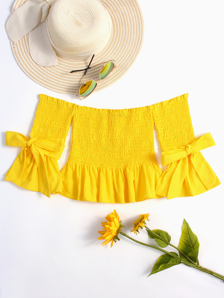 Yellow Pleated Design Off The Shoulder Bell Sleeves Crop Top