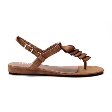 Brown T-bar Design Suede Look Wrinkles Embellissement Flat Sandals