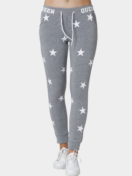 Grey Star And Letter Pattern Trousers