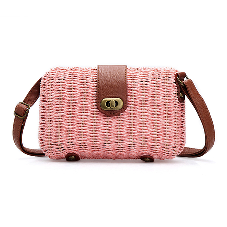 Pink Woven Shoulder Bag With Twist Lock
