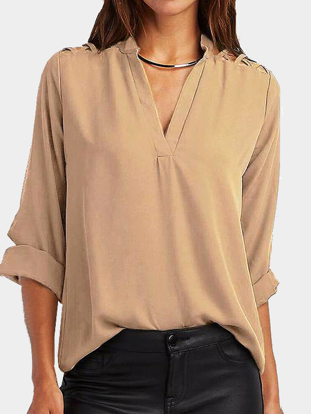 Cut Out V-neck Long Sleeves Top