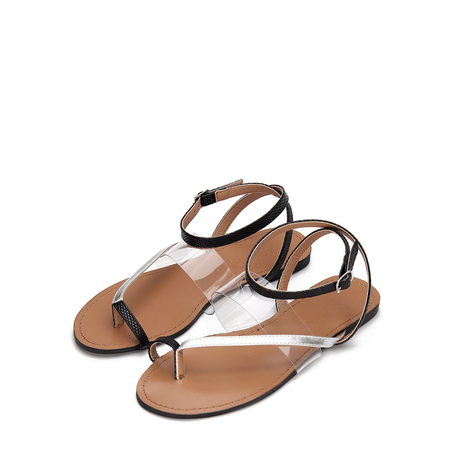 Black Toe Post Wrap Around Ankle Strap Clear Strap Detail Flat Sandals