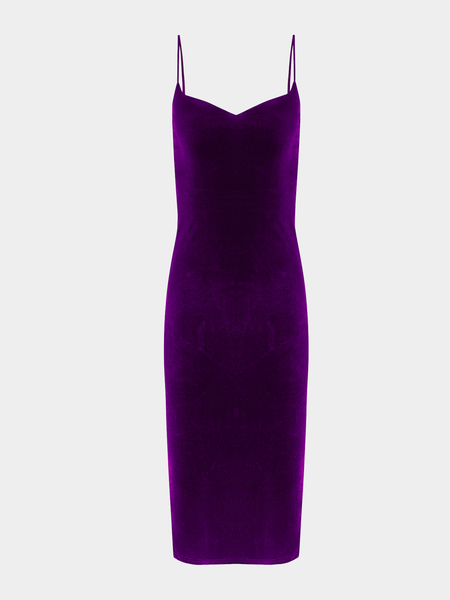 Purple Sexy V-neck Velvet Spaghetti Dress With Splited Hem