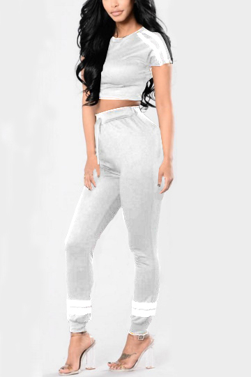 Grey Stripe Print Crop Top & High-rise Pants Tracksuit
