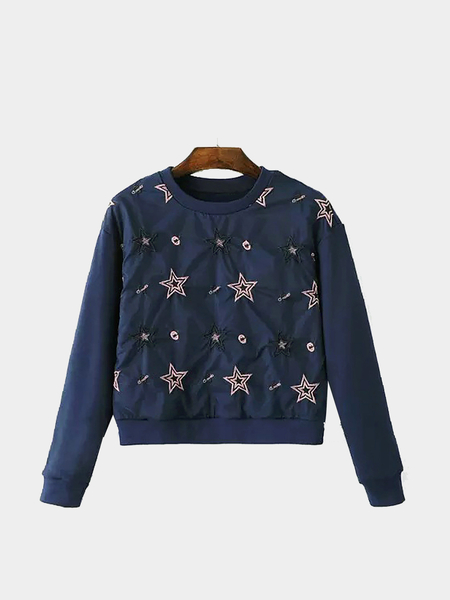 Star Embroidery Organza Sweatshirt in Navy