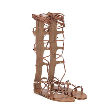 Brown Gold-tone Studding Lace-up Knee High Style Flat Gladiator Sandals