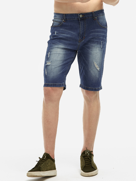 Blue Washed Ripped Details Middle Waisted Side Pockets Tapered Pencil Shorts