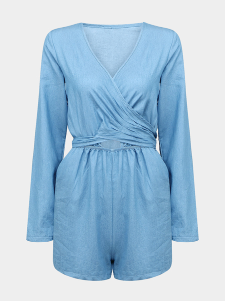 Self-Tie Back Wrap Romper In Washed Denim