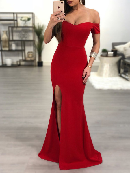 Red Off The Shoulder Slit Design Maxi Party Dress