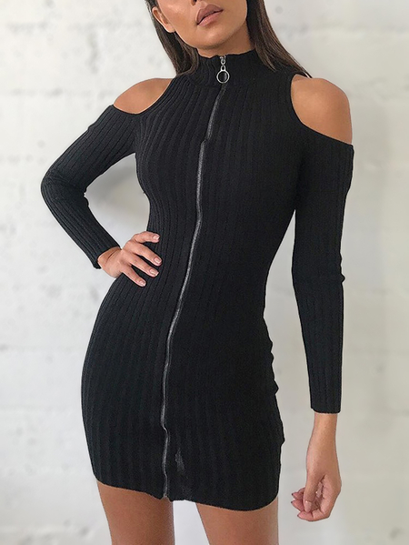 Black High-neck Cold Shoulder Zipper Up Ribbed Mini Dress