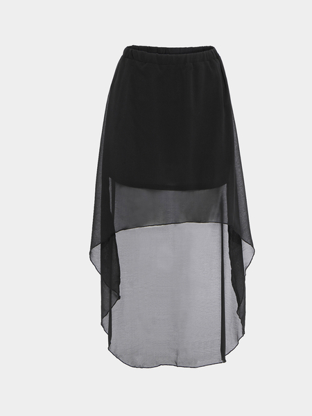 Black High-Low Chiffon Skirt