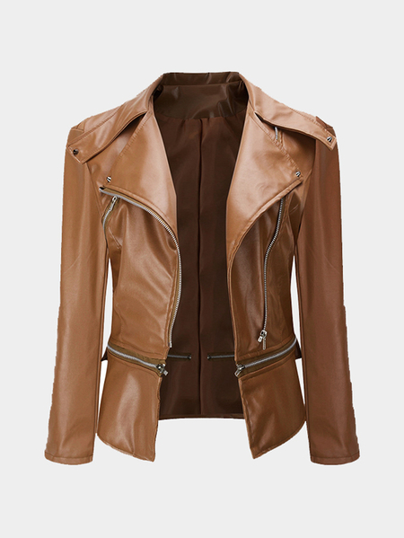 Khaki Casual Lapel Collar Zipper Details Biker Jacket