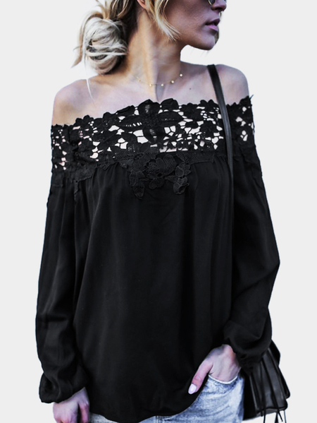 Black Lace Details Off The Shoulder Long Sleeves Blouses