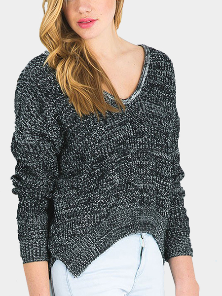 Black V Neck Long Sleeve Sweater with Side Split