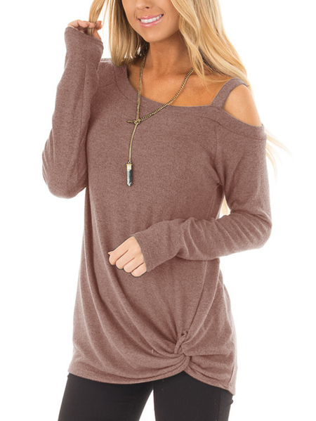 Dusty Pink Crossed Front Design Plain One Shoulder Long Sleeves T-shirts