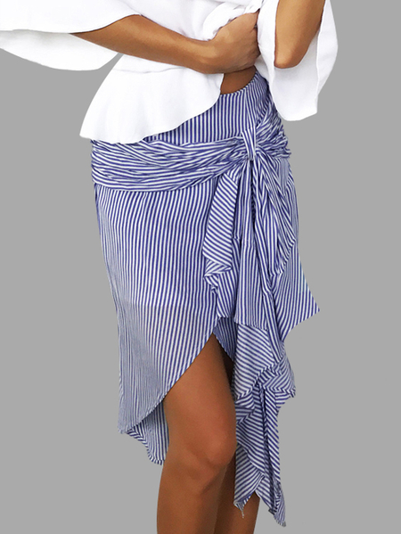 Blue Stripe Tie-up Front Asymmetrical Wrap Skirts