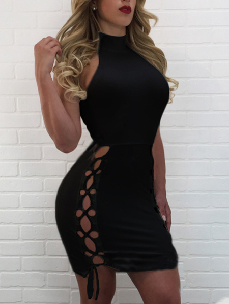 Black Hollow Design Lace-up Side Sleeveless Bodycon Mini Dress