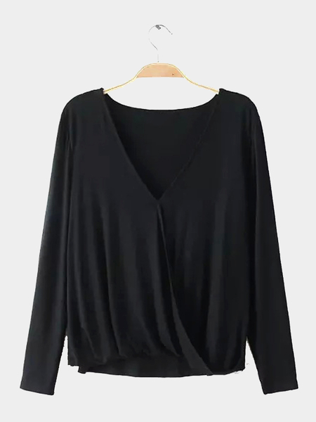 V-neck Cross Front Top in Black