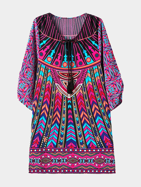 Vintage Geometrical Printing Side Split Midi Dress