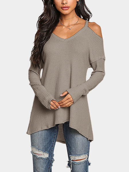 Greyish-green Cold Shoulder Long Sleeves T-shirts with High Low Hem