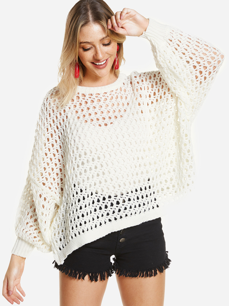 White See Through Design Round Neck Dolman Sleeve Loose Fit Sweater