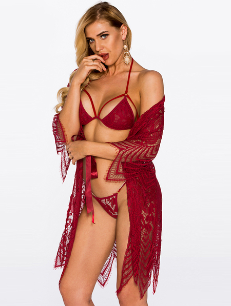 Red Hollow Design Sexy Three Piece Pajamas with Lingerie Set