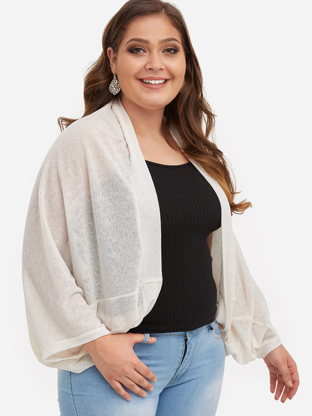 Plus Size White Bat Sleeve Coat