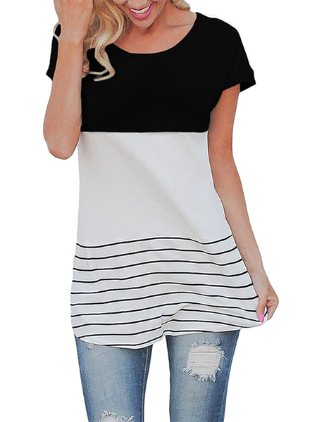 Contrast Color Stitching Stripe Pattern Top in Black