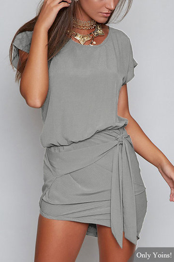 Grey Round Neck Self-tie Design Mini Dress