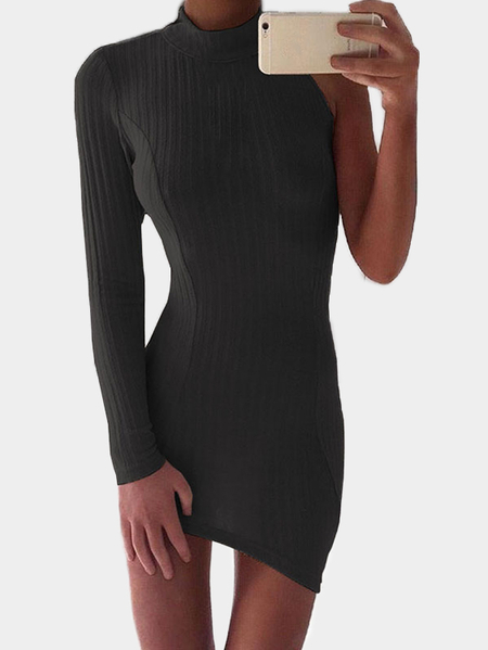 Black Half Sleeve Crew Neck Bodycon Dress