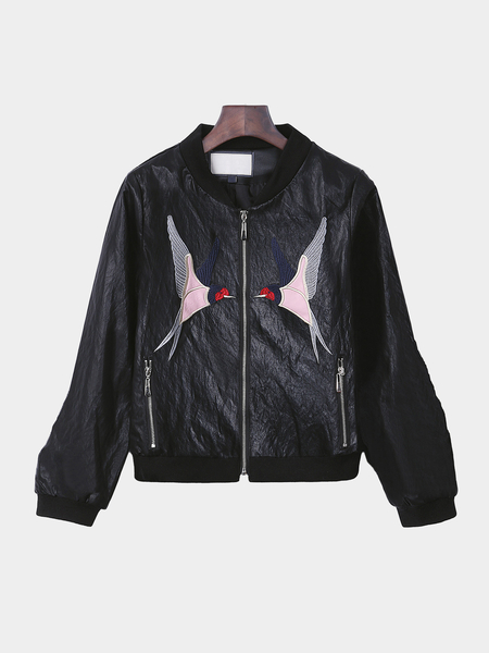 Black Leather Look Jacket With Embroidery Pattern