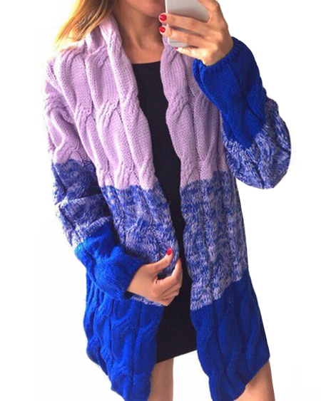Mode dunkelblaue Gradient Oversize Strickjacke