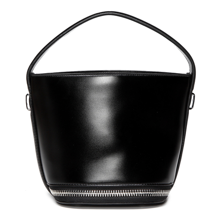 Black Zipper Embellished Drawstring Closure Handbag