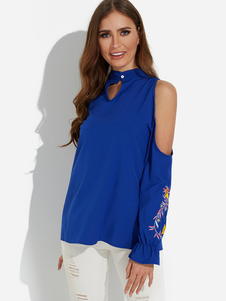 Blue Cut Out Embroidered Cold Shoulder Long Sleeves Blouse