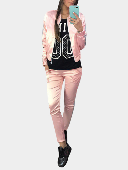 Active Causal Style Elastic Waist Sports Tracksuit in Light Pink