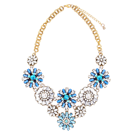 Blue Crystal Flowers Pendant Necklace