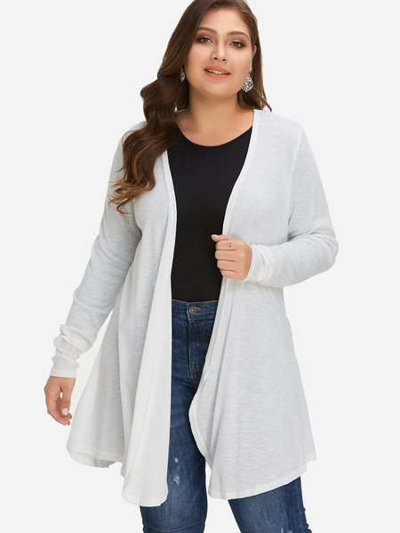 Plus Size White Open Front Knit Cardigan