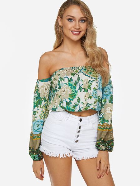 Random Floral Print Off The Shoulder Lantern Sleeves Crop Top