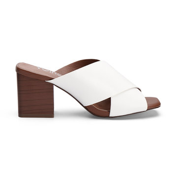 White Leather Look Cross Wide Strap Front Stacked Block Heels