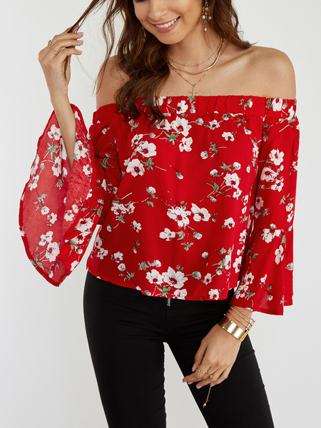 Red Floral Print Off The Shoulder Flared Sleeves Blouse