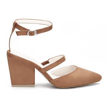 Brown Pointed Toe Single Strap Over Ladies Heels