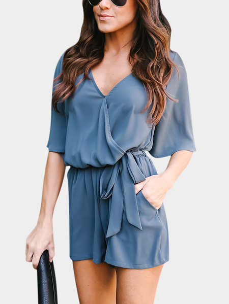Blue Crossed Front Design V-neck 3/4 Length Flared Sleeves High-waisted Playsuit