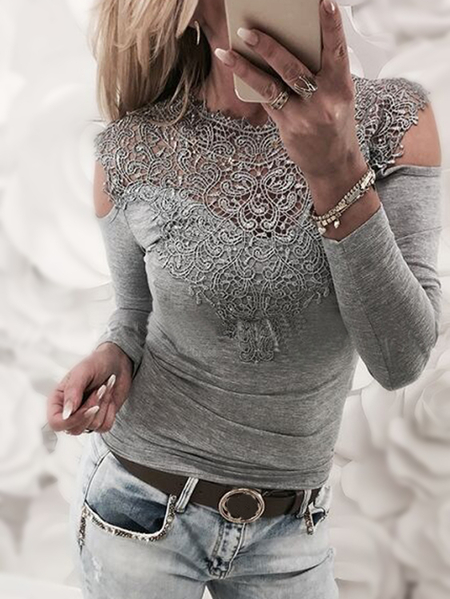 Grey Lace Insert Cold Shoulder Long Sleeves Sexy T-shirt