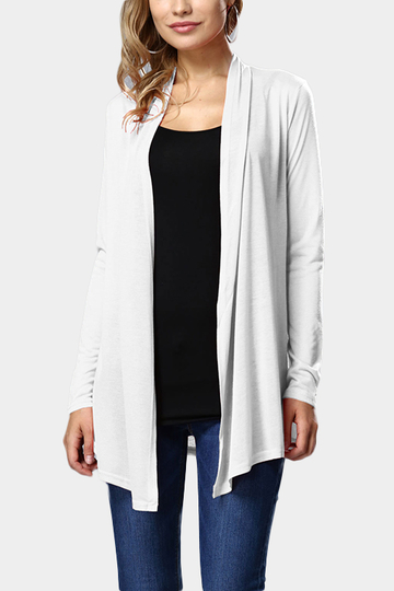 White Long Sleeves Cardigan