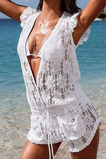White Sheer Lace Plunging Neck Playsuit with Drawstring