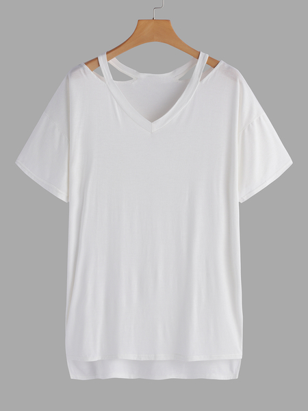 White Hollow Out V-neck Short Sleeves T-shirts