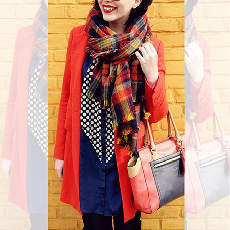 Check Wrap Scarf with Tassel Detail