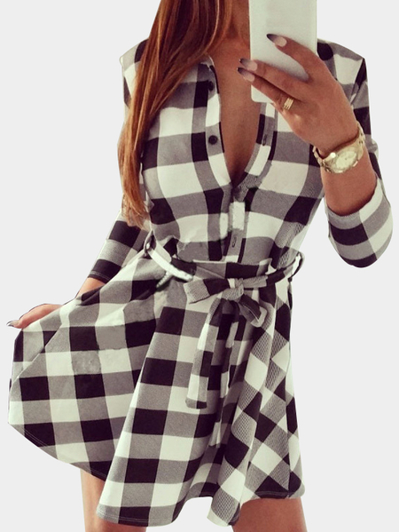 White Grid Pattern Mini dress with Waist Belt