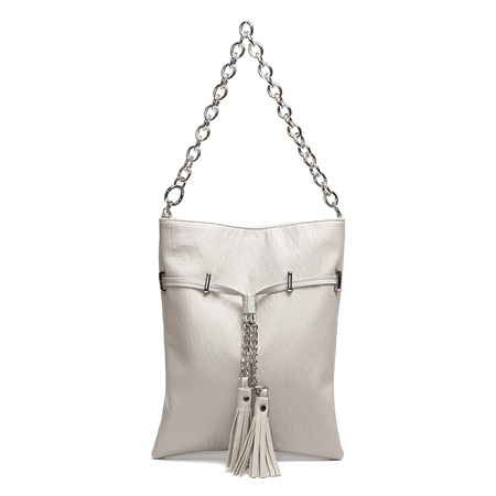 Light Grey Tassel Embellished Shoulder Bag with Chain Strap