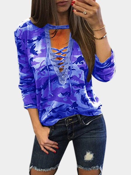 Hellblau Sexy Camouflage Muster V-Ausschnitt Lace-up Front Top